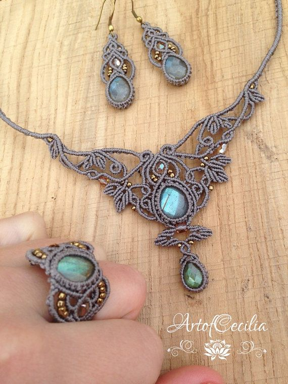 Beautiful macrame set. Labradorit jewelerie set. by ARTofCecilia