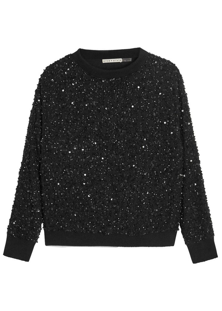 Alice + Olivia black crepe sweatshirt Sequin embellishments, dropped shoulders, ribbed jersey cuffs, fully lined Slips on 100% polyester; trim: 100% cotton; lining: 94% polyester, 6% elastane