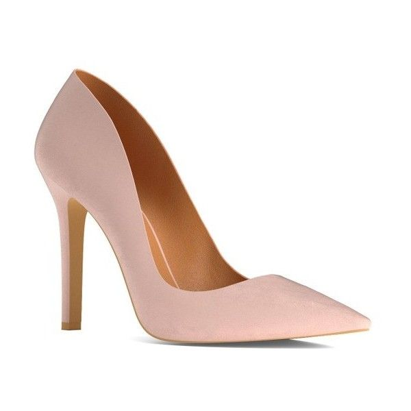 Women's Shoes Of Prey   Pointy Toe Pump ($190) ❤ liked on Polyvore featuring shoes, pumps, blush nude leather, leather shoes, wide fit shoes, nude shoes, leather pointy toe pumps and pointy toe shoes