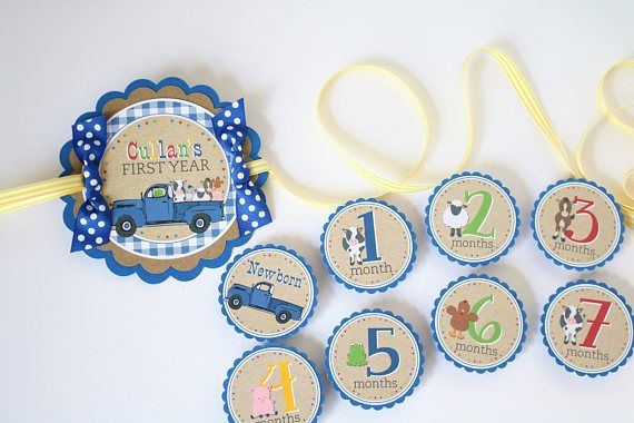 Little Blue Truck First Year Photo Banner  12 Month Photo