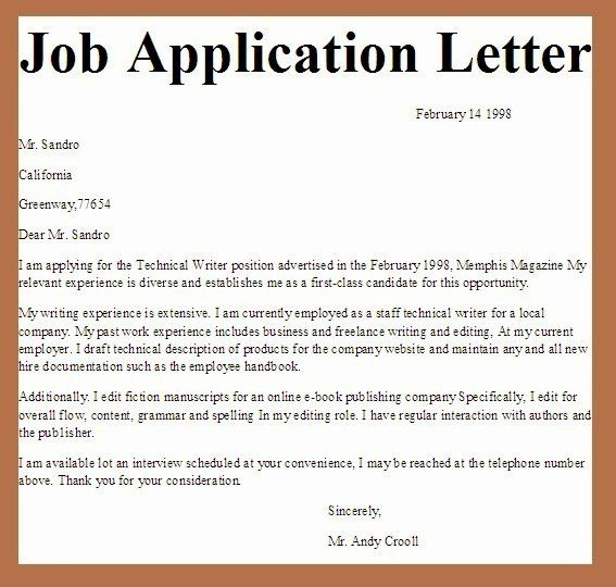 40 Letters Of Application Examples Application Cover Letter