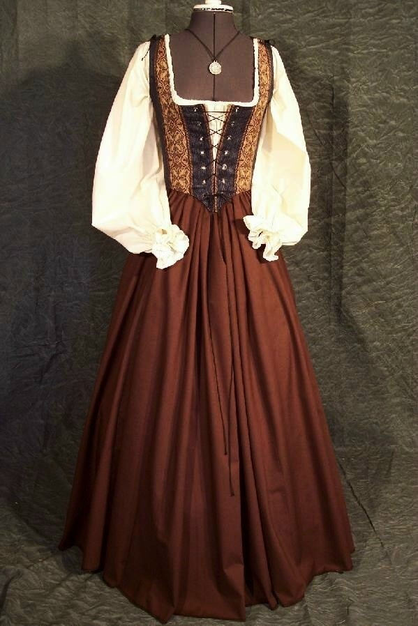 Renaissance Faire Maiden Wench Bodice Dress Gown. $145.00, via Etsy.