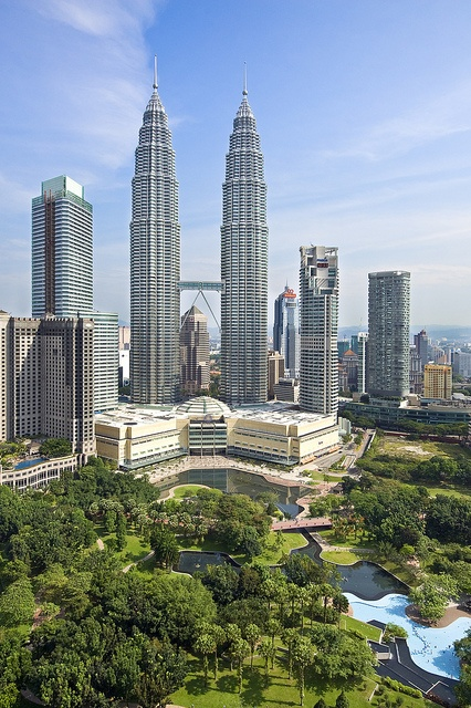 .~Petronas Twin Towers  Kuala Lumpur, Malaysia    The Petronas Towers are twin skyscrapers in Kuala Lumpur, Malaysia. According to the CTBUH's official definition and ranking, they were the tallest buildings in the world from 1998 to 2004~. @adeleburgess