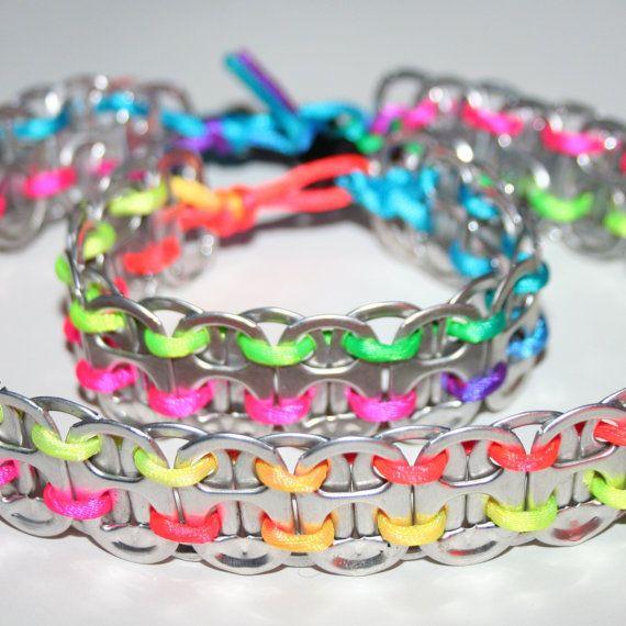 Neon Rainbow Pop Can Tab Bracelet & Necklace Set Pulseras con cordón seda muy elegantes.