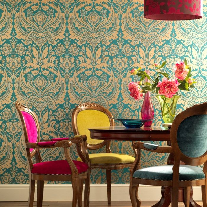 A stunning grand damask design made modern with the bold fashion led colorways it is available in.