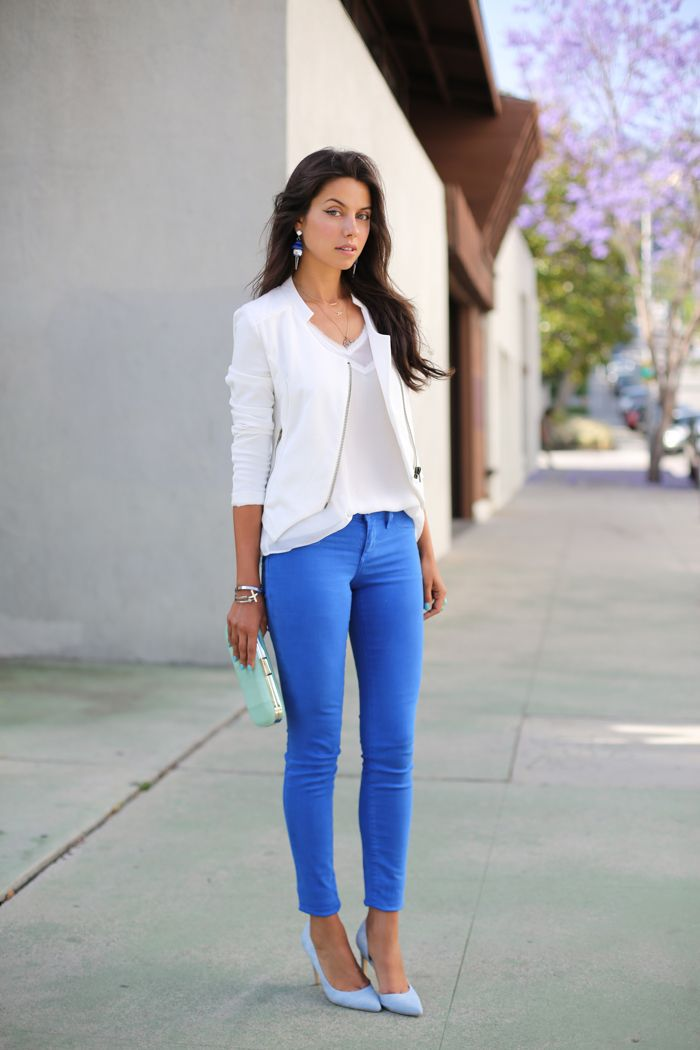 Cobalt & Mint: wearing Club Monaco Mint Clutch + Joe's Jeans Denim Heels