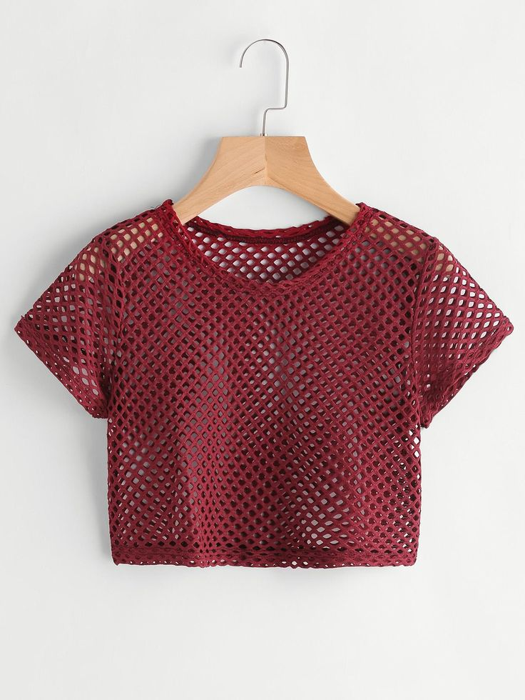 ROMWE - ROMWE Hollow Out Fishnet Crop Tee - AdoreWe.com