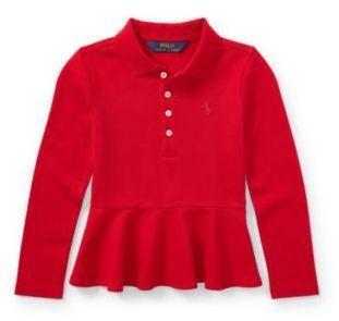 Ralph Lauren Long-Sleeve Peplum Polo Shirt Park Ave Red 2T