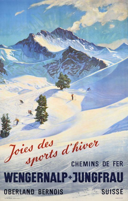 Jungfrau - Wengernalp, Chemins de Fer, Joies des sports d'hiver (Anonymous / 1945)