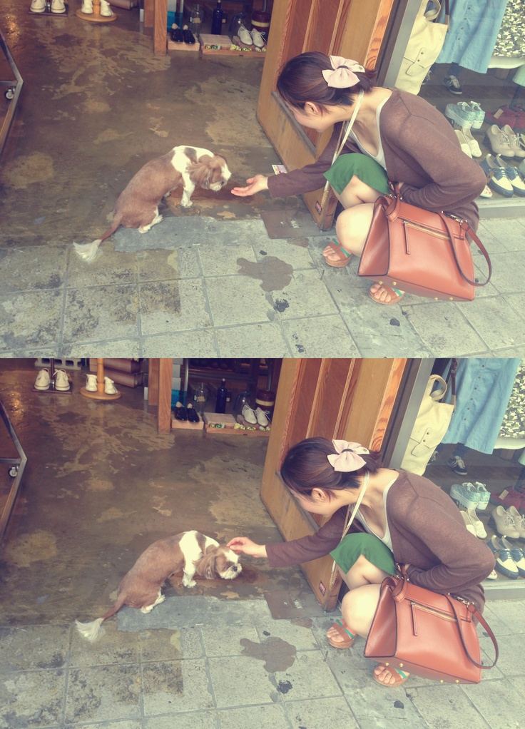 Irene with cute dog :)   #dog #longnacklace