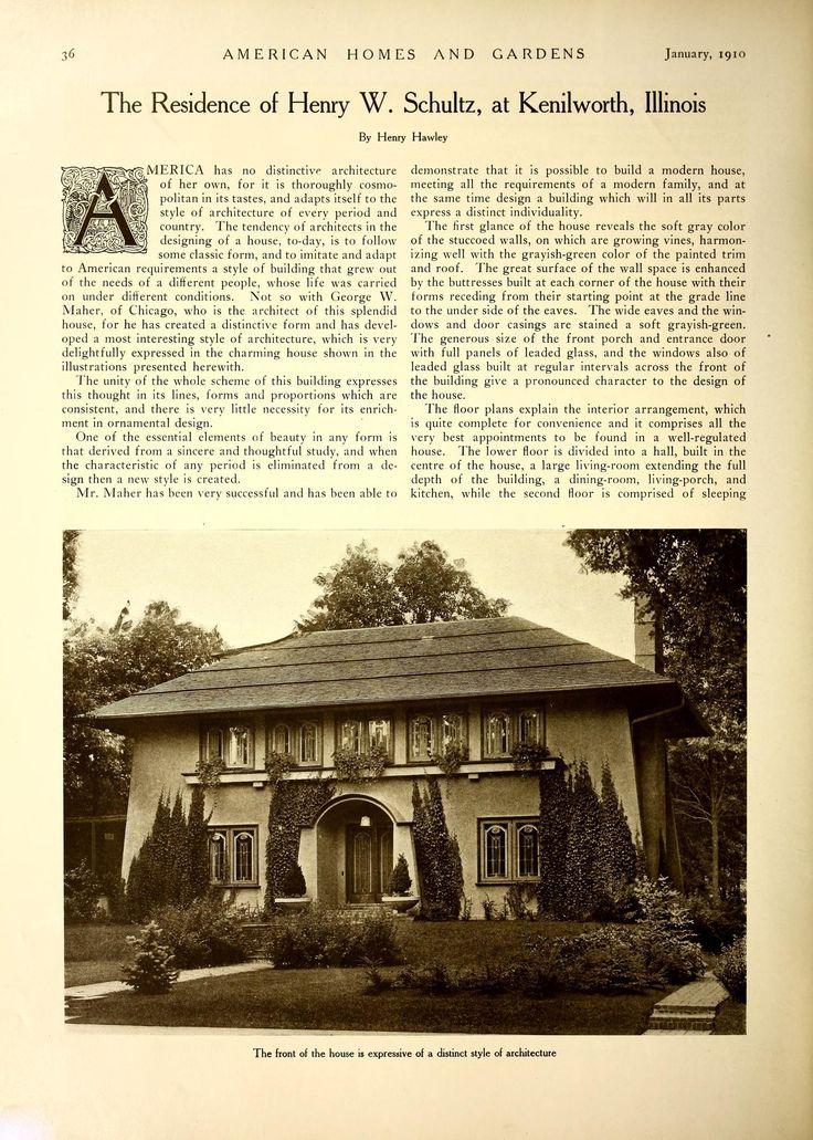 IL Winnetka / Kenilworth Henry Schultz Residence by Maher  Frank Lloyd  Wright