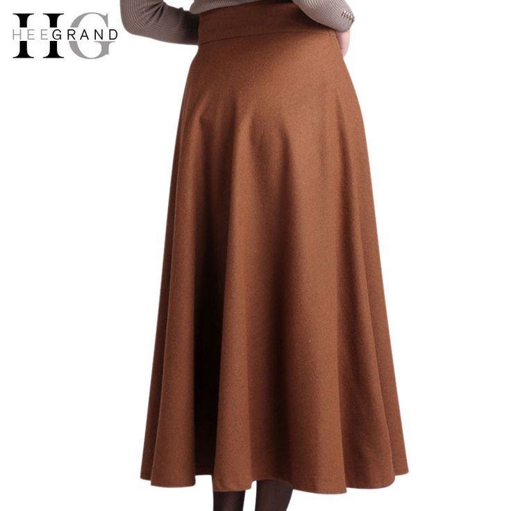 HEE GRAND Spring/Winter/Autumn Women Fashion All-Matched Skirts Vintage A-line Wool Blended Long Skirt Plus Size Faldas WQB043