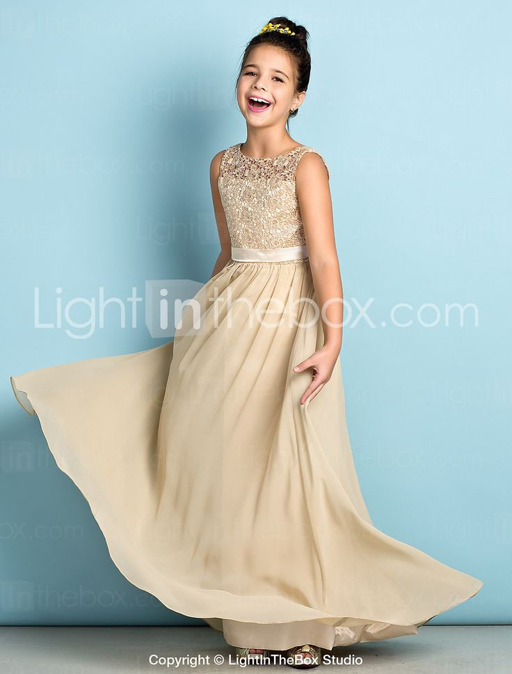 Floor-length Chiffon / Lace Junior Bridesmaid Dress - Champagne A-line Scoop 2015 – £58.39