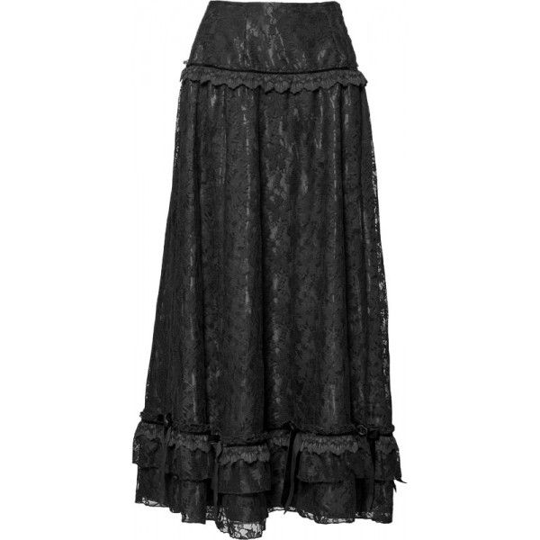 long skirts | Gothic shop: long black lace skirt by Sinister clothing
