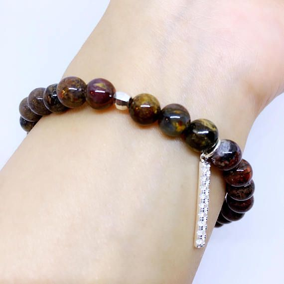 Pietersite Bracelet with Sterling Silver Charm Natural