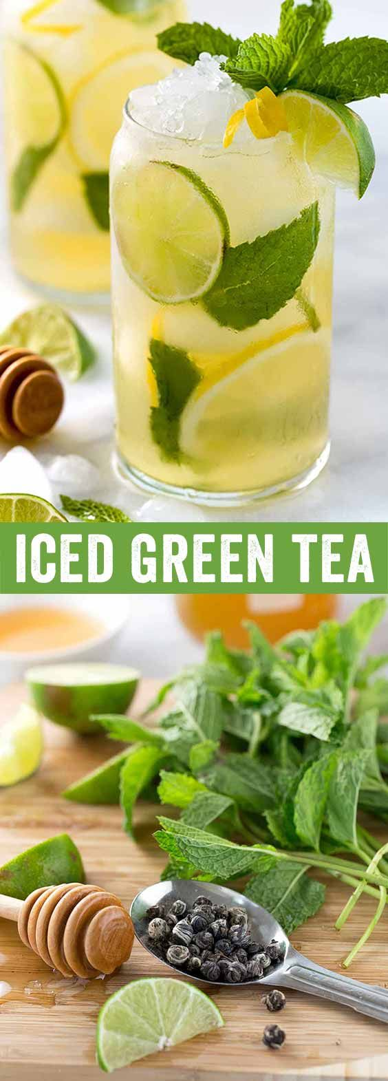 Iced green tea with lemon, lime, and fresh mint is a refreshing and revitalizing beverage for those warm days. Each glass is naturally sweetened with honey and packed with antioxidants. via @foodiegavin