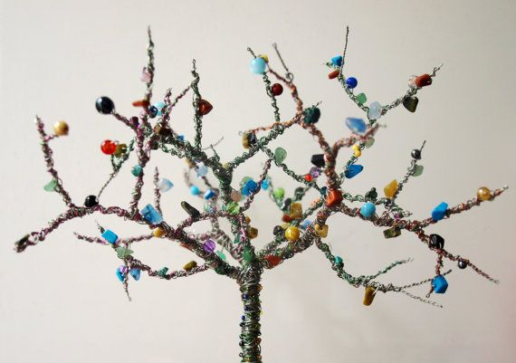 Bespoke wire tree forest sculpture with beads by CuriousVioletUK