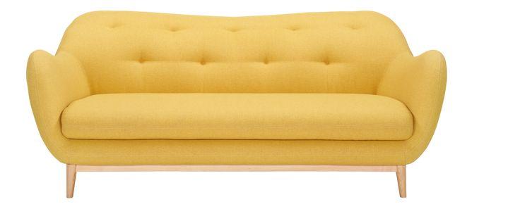 Melchior - Canapé 2 places en tissu jaune - Habitat