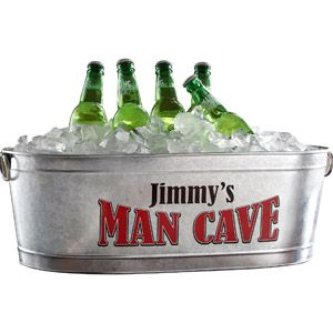 This fits perfectly with our just add Lager cufflinks - Personalized beverage tub for dad's man cave
