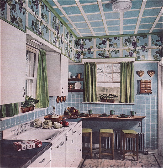 Oh My Gosh!  Now I realize what I tore down above my cabinets in 1980 was the original from 1947 - Is that an acoustic Ceiling?  This house had that too.