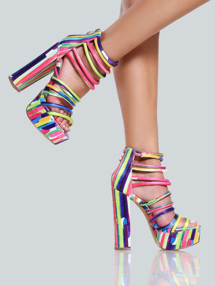 Shop Multi Colored Strappy Heels MULTI online. SheIn offers Multi Colored Strappy Heels MULTI & more to fit your fashionable needs.