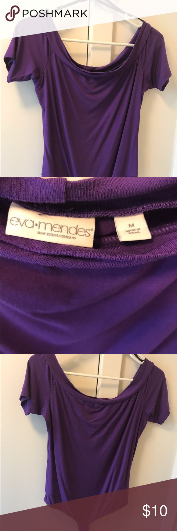 Purple body suit tee NWOT. Never worn, only tried on a couple of times.  Pretty purple nice quality tshirt material.  From the Eva Mendez collection New York & Company Tops