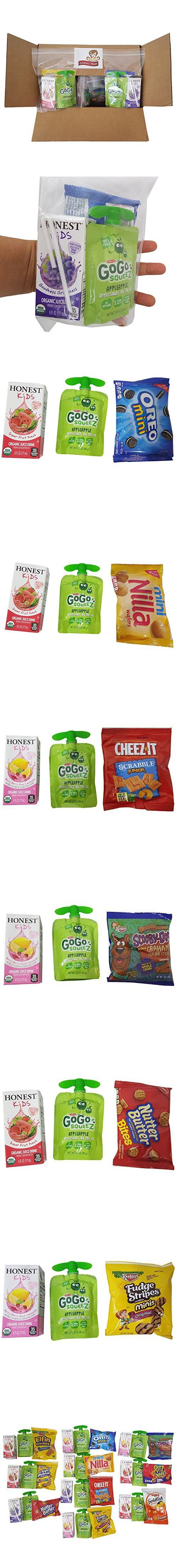 Gogo Squeez & Honest Kid Juice in bundle, Healthy and Fun Snacks for Kids In a Box(30 count), School Lunch Snack Care Packages for 10 Days, 2 School Weeks, Gift Basket, Sports Team practice, Road Trip