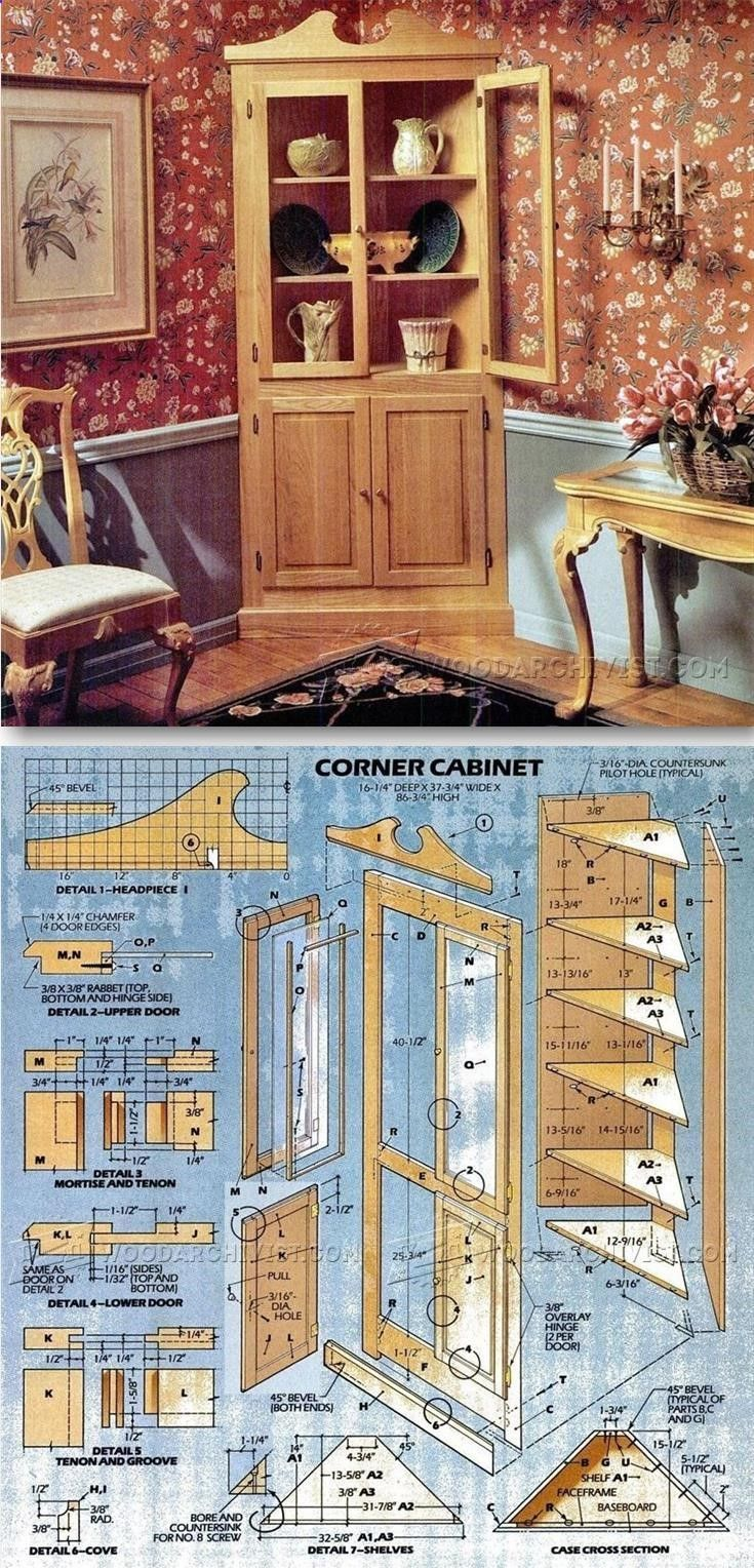 Classic corner cabinet plans furniture plans and for Planos de carpinteria de madera
