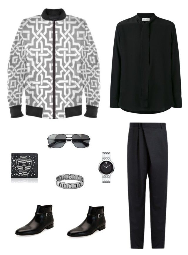 """""""The moroccan"""" jacket ootd by guutanii on Polyvore featuring polyvore, Yves Saint Laurent, Kolor, Salvatore Ferragamo, Movado, Ray-Ban, Alexander McQueen, men's fashion, menswear and clothing"""