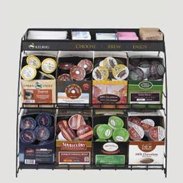 Keurig Wire Rack holds 8 boxes of K-cups with sugar/cream storage on top. Great for big families or the office.  Also comes in a smaller 4 box size.