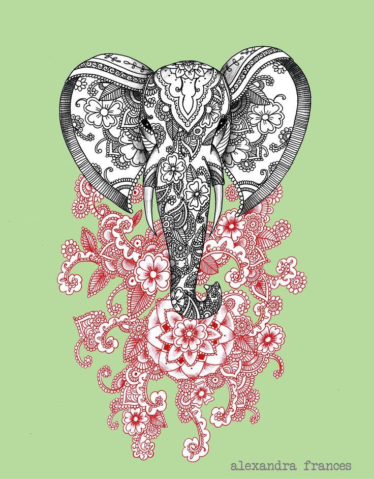 Mehndi Elephant Illustration Tattoo Design in black and red ink henna pattern ethnic design - by Alexandra Frances
