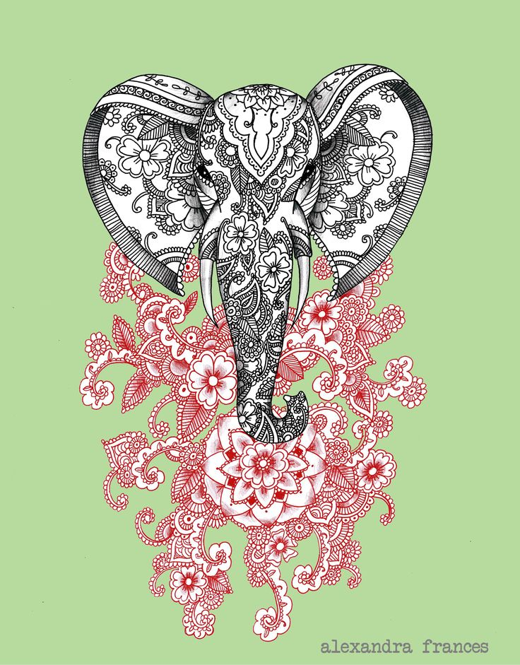Mehndi Elephant Head : Mehndi elephant illustration tattoo design in black and