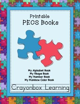PECS Printable Books (4) Colors, Shapes, Numbers, Alphabet