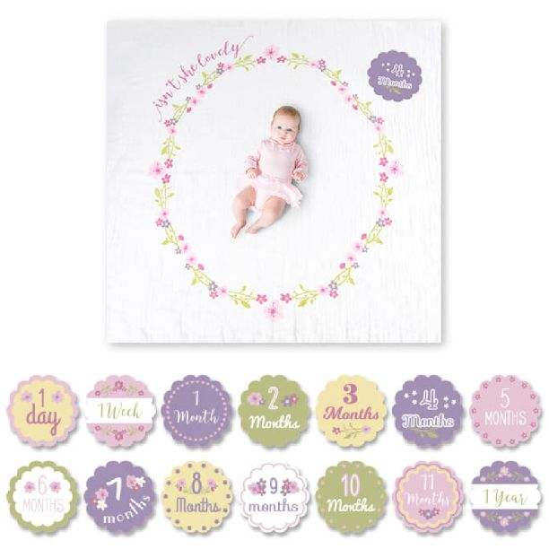 (http://www.spearmintlove.com/muslin-blanket-milestone-card-set-floral/)