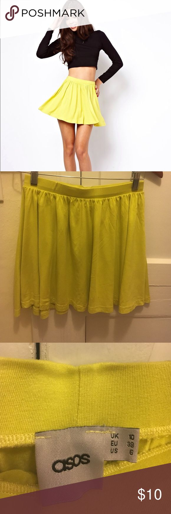 """ASOS skirt in skater style Lemon color. Excellent condition. Lightweight jersey material. Stretch waistband. Pull on style. 95% Viscose, 5% Elastane The model wears a US 4 and is 5'10.5"""" tall ASOS Skirts Mini"""