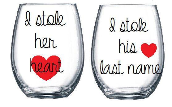 MR & MRS, Bride and Groom Stemless Wine Glasses,Engagement gift, weddi – Hucklett's Creations