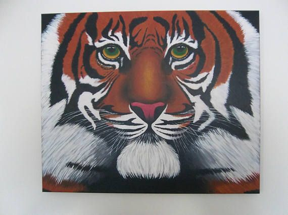 Hand painted signed original canvas 'Tiger'