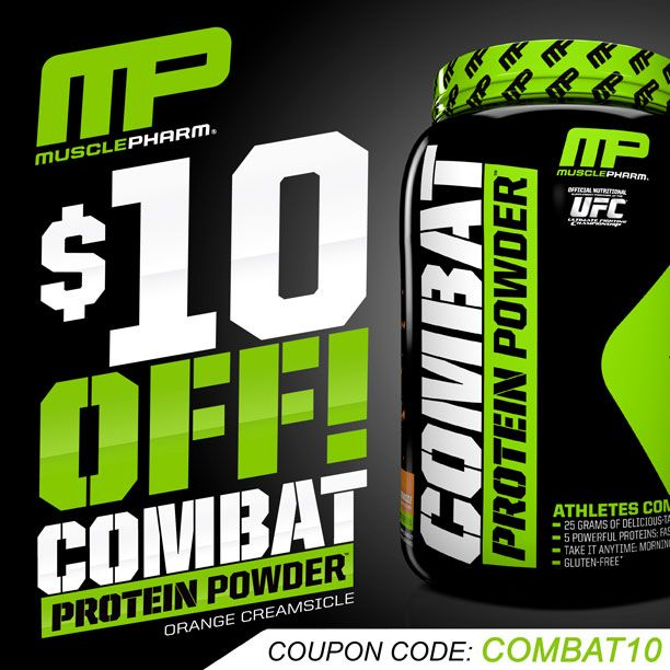 Save $10 on the Orange Dreamsicle flavor of Muscle Pharm Combat protein powder... use coupon COMBAT10 http://suppz.com/muscle-pharm-combat.html