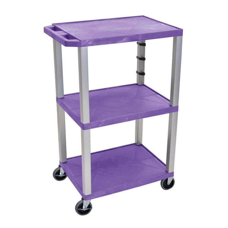 WT 42 in. H, A/V Cart With Nickel Colored Legs, Purple Shelves, Blue
