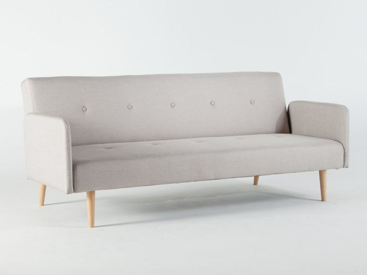 Canapé clic-clac tissu 2 places + pieds bois design LAURETTA