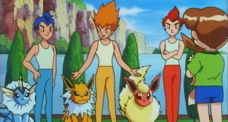 The #Eevee Brothers from the #Pokemon TV Series. How to evolve eevee into five different evo's in #PokemonGo @ http://www.pokemondungeon.com/pokemon-go/how-to-evolve-eevee-into-espeon-umbreon-jolteon-vaporeon-flareon