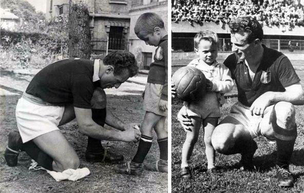 "Valentino Mazzola (AC Torino, 1942–1949, 204 apps, 118 goals), captain of ""il Grande Torino""  with his son Alessandro ""Sandro"" Mazzola (future famous FC Inter Milan's forward and Italian international)."