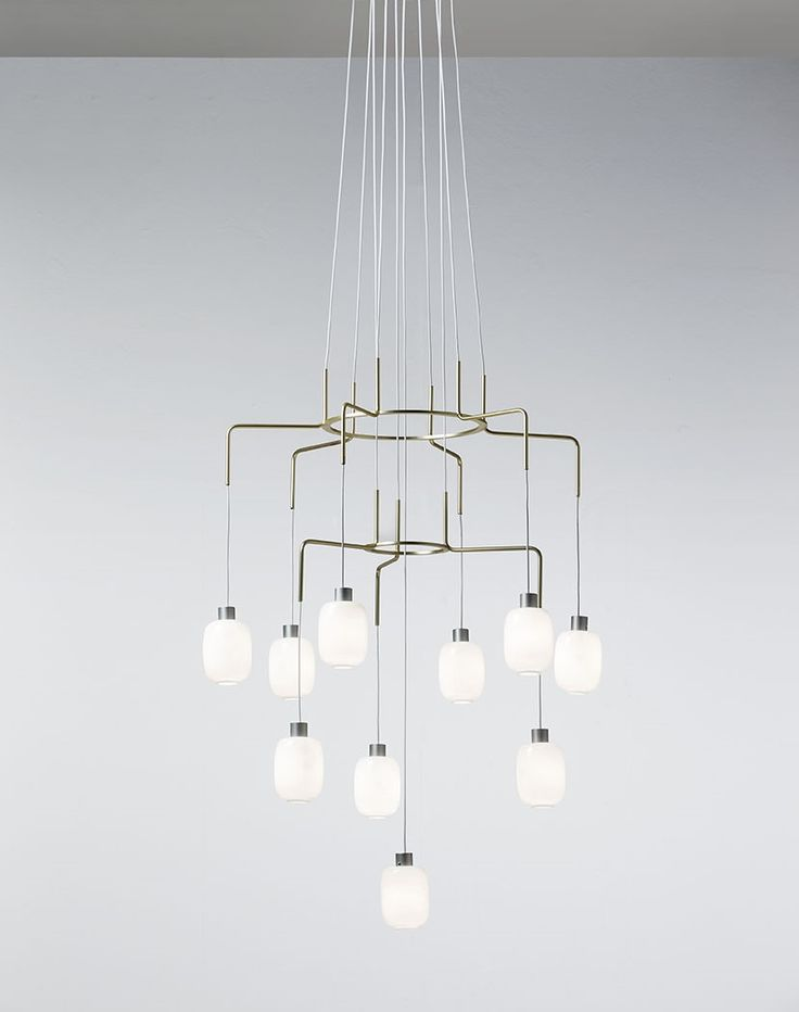 New #Chan suspension fixture in the 10-light version with brass galvanized steel structure and pyrex glass diffusers. See further configurations at http://goo.gl/WaoHNC
