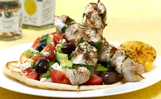 Lunch/Dinner: Greek Chicken Souvlaki (200 calories/serving) serve with Greek salad or Greek rice