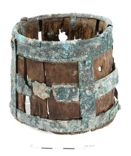 The Saxon drinking bucket from Barrow Clump, artefacts at Wiltshire Museum.  England.