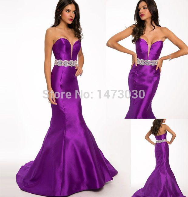 Длинная стиль сексуальный русалка сердечком декольте вышивка бисером кристаллы завязки фиолетовый атлас вечернее платье и платья CE139