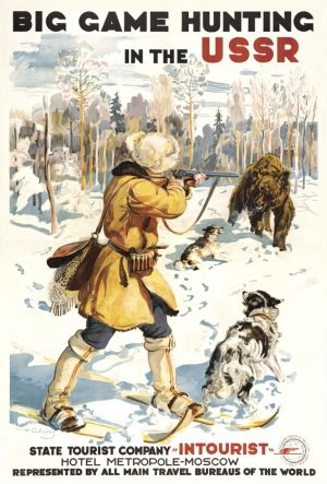 Big Game Hunting in the USSR - high quality giclee fine art reprint of a 1931 Soviet travel poster by G Savitsky designed for the State Travel Company Intourist, available at www.AntikBar.co.uk.
