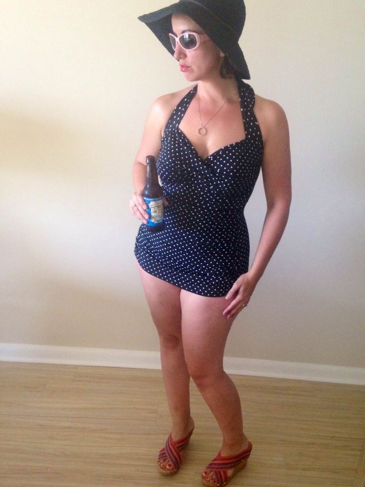 Two mamas, 5 weeks post-partum and 7 months post-partum, model this shockingly chic swimsuit. You won't believe how good it looks.