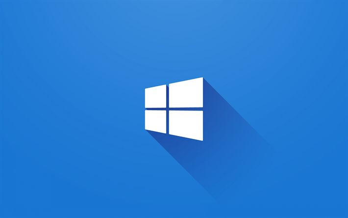 Download wallpapers Windows 10, 4k, blue background, minimal, Windows logo, Microsoft