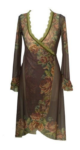 Brown Wrap Cardigan Designed by Michal Negrin with Victorian Floral Print, Long Sleeves, Ruffled Cuffs, Lace and Velvet Trim Michal Negrin. $483.00